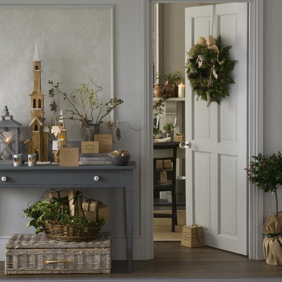 Rustic grey Christmas hallway with natural foliage decorations | Traditional Christmas decorating ideas | PHOTO GALLERY | Ideal Home | Housetohome.co.uk