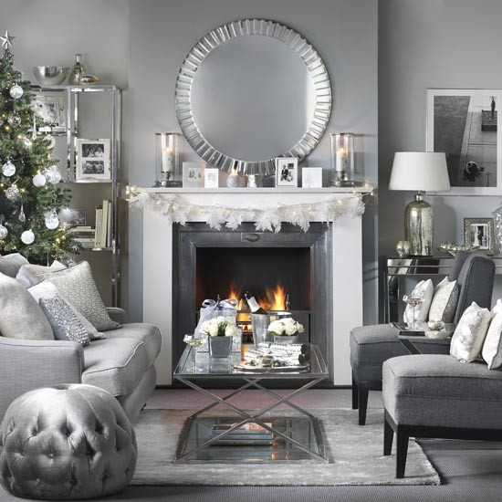 Glass And Chrome Christmas Living Room With Open Fire