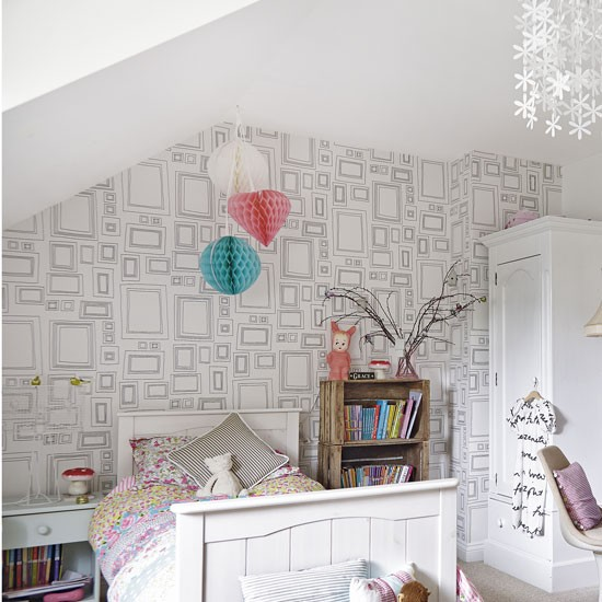 Minimalist white teenage girl 39 s bedroom with feature wallpaper teenage girls bedroom ideas Wallpaper for teenage girl bedroom