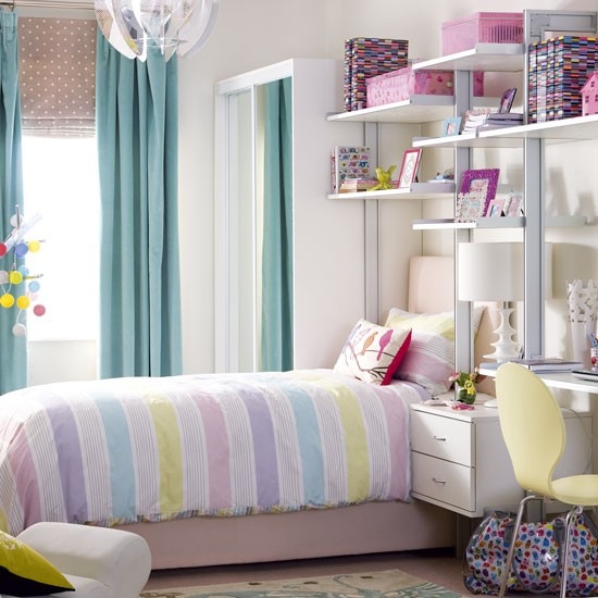 Pretty Pastel Teenage Girl S Bedroom With Modular Shelving