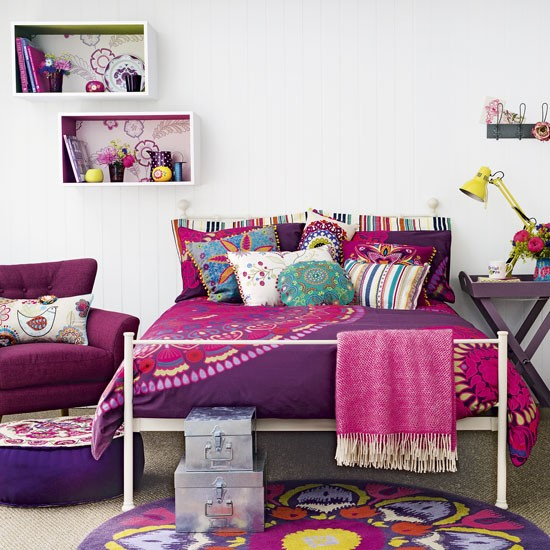 Pink And Purple Teenage Girl's Bedroom With Folky Patterns