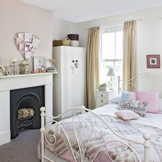 Pink teenage girl 39 s bedroom with vintage furniture Teenage small bedroom ideas uk