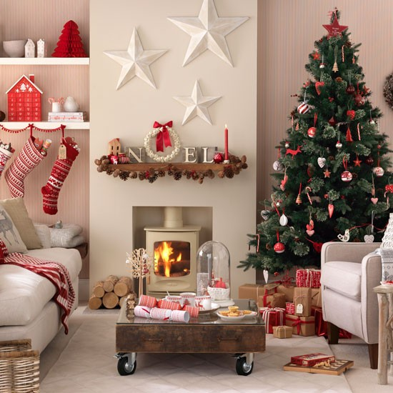 Christmas living room with simple Scandi-style decorations | Budget christmas ideas | Ideal home | Photo gallery | housetohome.co.uk