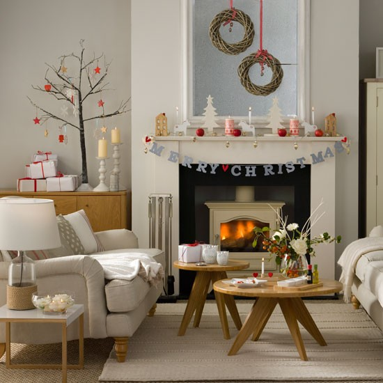 Woodland inspired Christmas Living Room With Twig Wreaths