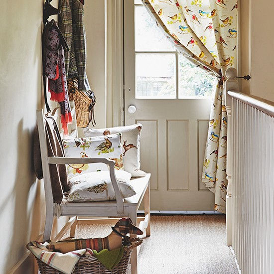 Country hallway with bird print fabrics and natural for Country hallway ideas