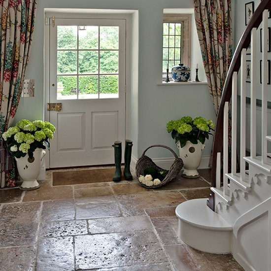 Country hallway with flagstone floor hallway flooring for Foyer flooring ideas