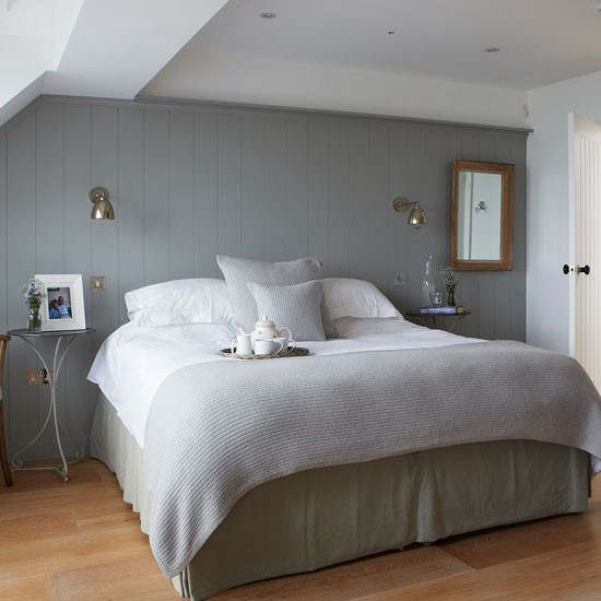 Restful grey bedroom with country panelling | West Sussex country house | House tour | PHOTO GALLERY | Country Homes and Interiors | Housetohome.co.uk