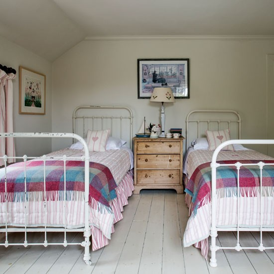 Guest Bedroom With Twin Beds Modern Country House In