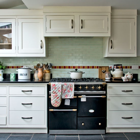 Cottage Style Kitchen Tiles: Shaker-style Kitchen With Pale Green Wall Tiles