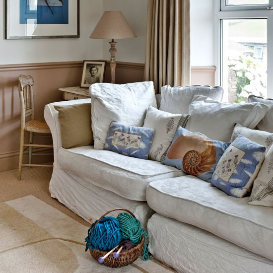 Neutral Living Room With Statement Cushions