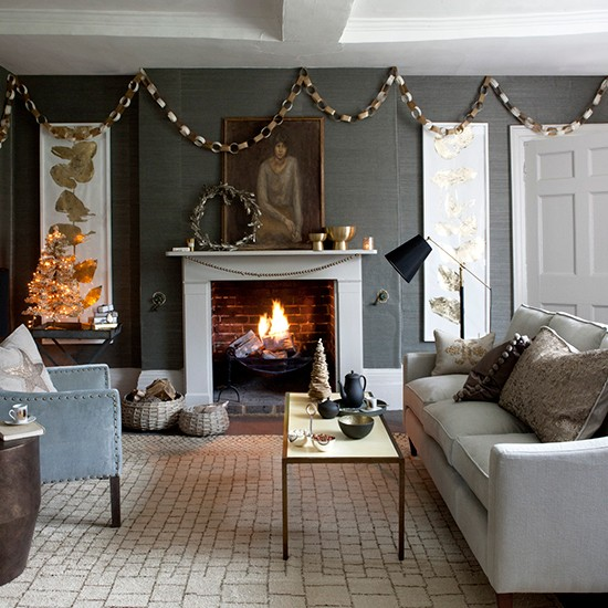 Town In The Country Contemporary Christmas Living Room Ideas