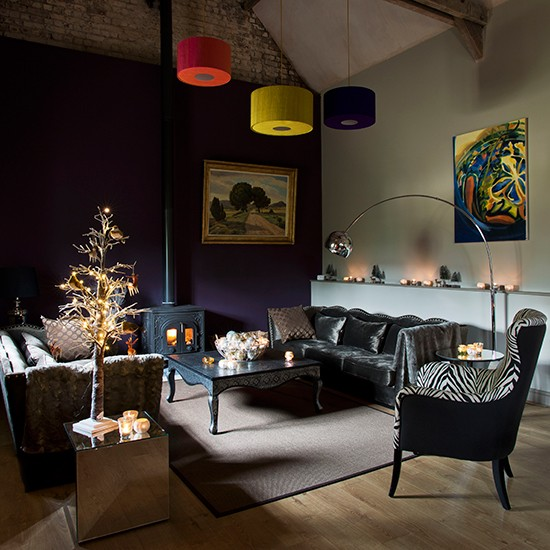 Mood Lighting Contemporary Christmas Living Room Ideas