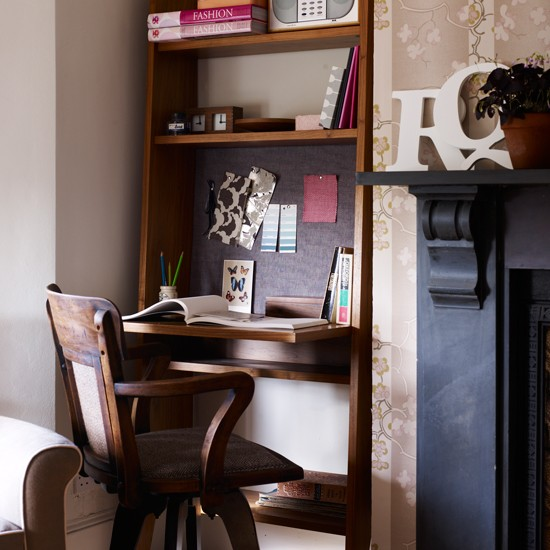 Alcove home office with fold down desk small home office design
