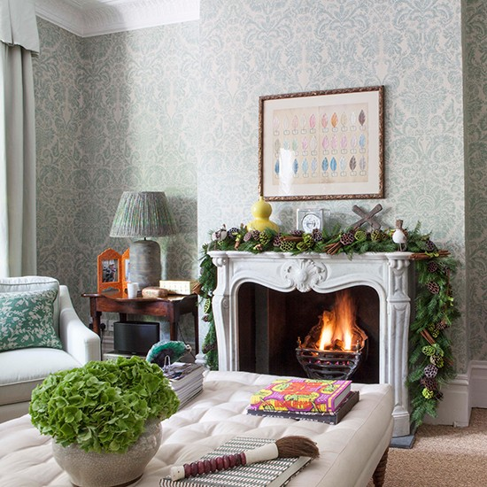 Green Living Room Fireplace Festive West London Home