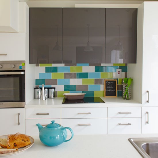 Green and blue metro tile splashback practical kitchen Splashback tiles kitchen ideas