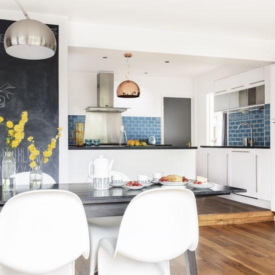 Striking Blue Tile Splashback In A Modern Scheme