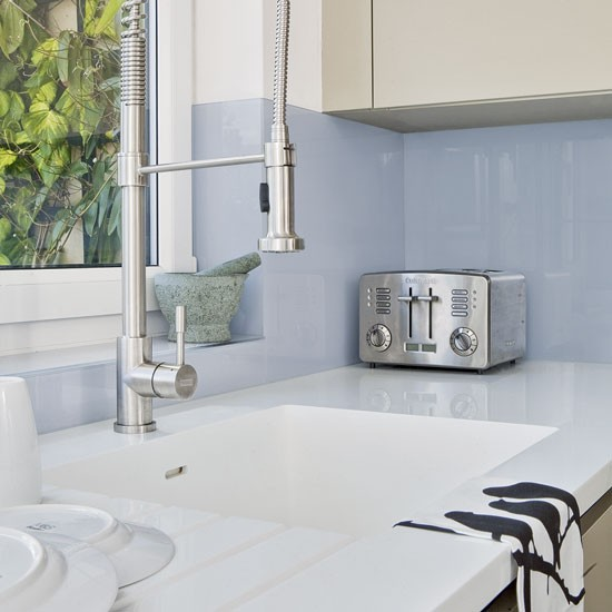 Blue glass splashback kitchen splashbacks kitchen for Sink splashback ideas