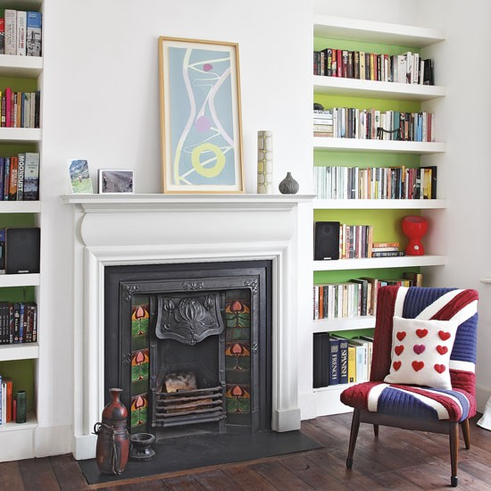 Floating Shelves In Green Painted Alcoves Let Floating