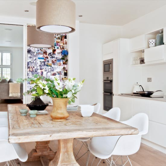 Kitchen diner with weathered dining table take a tour for Victorian terrace dining room ideas