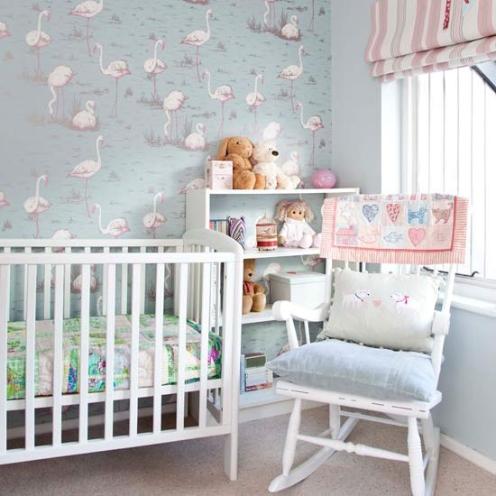 Nursery with soft pastel flamingo wallpaper bedroom for Baby room decorating ideas uk