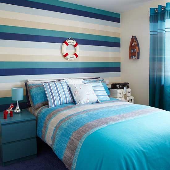 New York Bedroom Wallpaper Uk Bedroom Paint Ideas Tumblr Bedroom Color Ideas Pictures Mezzanine Bedroom Design Ideas: New England Inspired Wallpaper With Blue Horizontal
