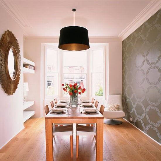Metallic feature wall dining room wallpaper ideas for Dining room wallpaper ideas uk