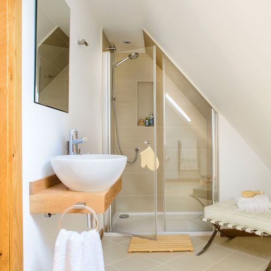 A neutral shower room with sloped ceiling bathroom for Small bathroom with sloped ceiling