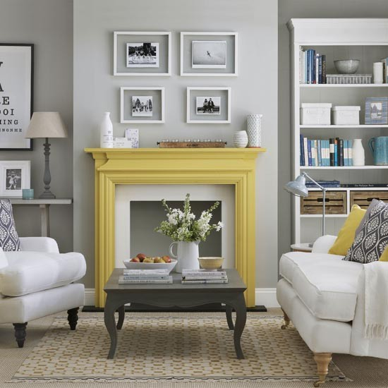 Smart grey living room with yellow accents simple living for Living room yellow accents