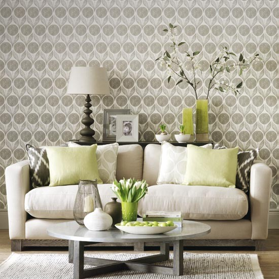 Statement wallpaper in a neutral living room simple for Home wallpaper designs for living room