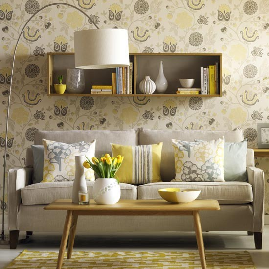 Sunny yellow retro style living room simple living room for Yellow living room wallpaper