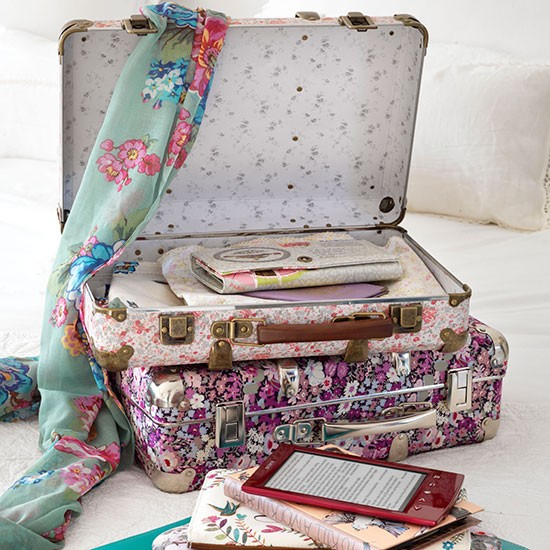 Floral suitcases in country bedroom  country homes and interiors  housetohome.co.uk