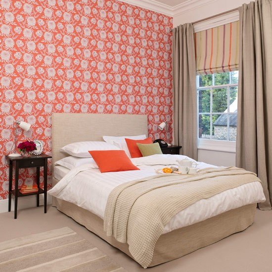 bedroom with bright wallpaper bedroom colour schemes