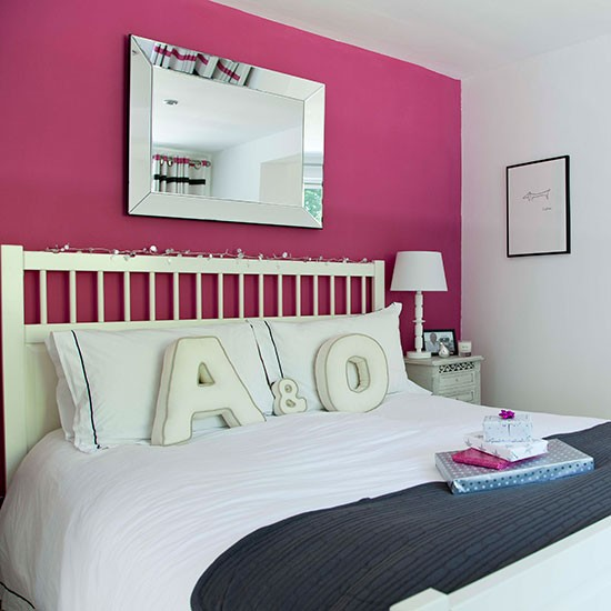 Bedroom With Pink Feature Wall