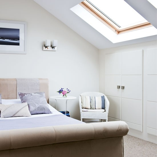 A light and airy bedroom with wardrobes in the eaves why for Eaves bedroom ideas