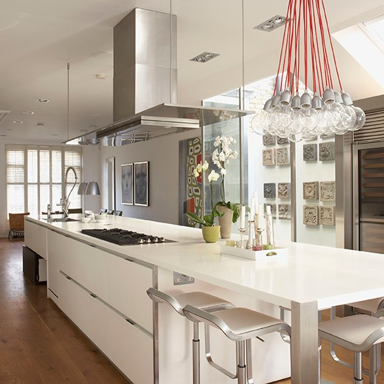 white contemporary kitchen with large kitchen island  Smart kitchen