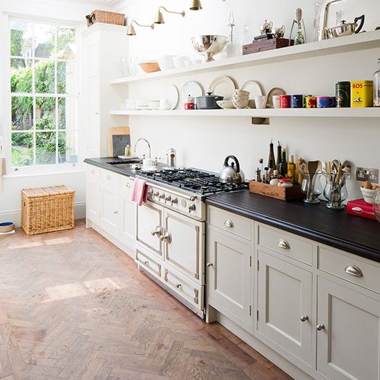 Country style galley kitchen with open shelves smart for Country style galley kitchens