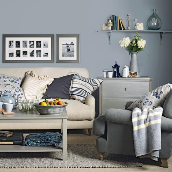 Country Style Blue And Cream Living Room