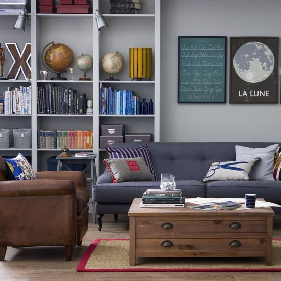 Smart grey and navy living room great schemes with mix Living room furniture mix and match