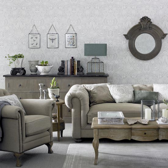 Grey Living Room With Chesterfield Sofa Great Schemes