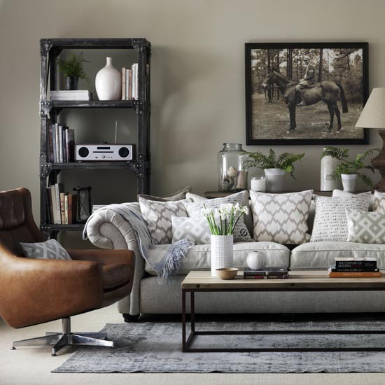 Grey living room with leather armchair great schemes for Matching living room furniture sets