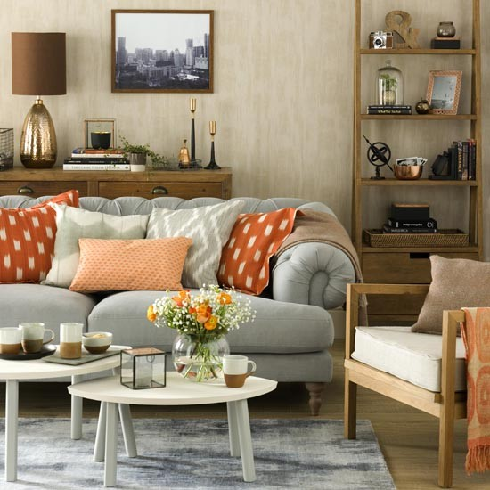 Grey Living Room With Orange Accents Great Schemes With Mix And Match Livin