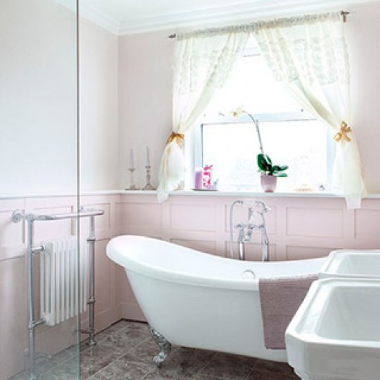 Shabby chic slipper bath with double sink
