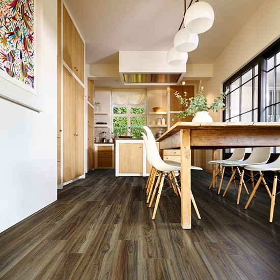 Contemporary kitchen with wood effect vinyl floor hard for Wood effect vinyl flooring kitchen