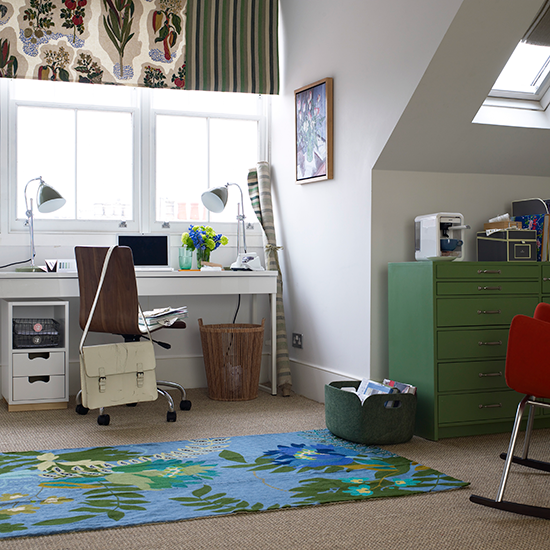 Bright Home Office With Pops Of Colour Home Office