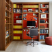 Library style home office with fitted work station