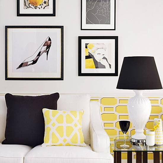 Black And White Living Room With Hits Of Yellow Black