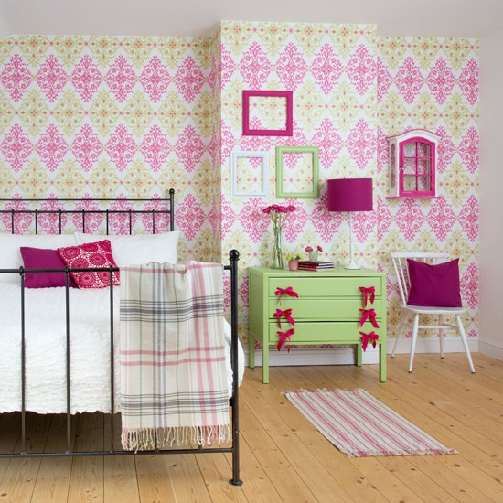 Use Childen S Room Wallpaper To Add Oodles Of Character: Teenage Girl's Colourful And Crafty Bedroom