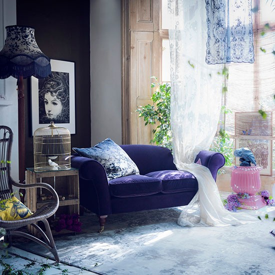 purple whimsical living room with botanical accents