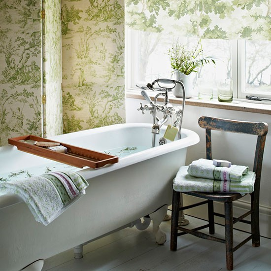 Bathroom Wallcovering French Toile Room Decor Bathroom: Traditional Bathroom With Toile Screen And Blind