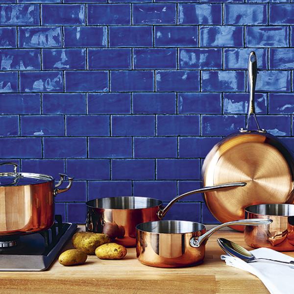 Blue and copper kitchen accessories